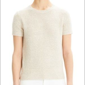 Theory Linen Cashmere Short Sleeve Knit Top Size L